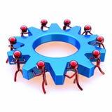 Het werk van het het wielteam van het vennootschaptoestel, rode mensen die blauw tandrad draaien vector illustratie