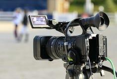 Het werk videographer camera Stock Foto