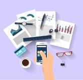 Het werkconcept - bedrijfsconcept - vlak ontwerp Stock Afbeeldingen