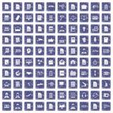 100 het werkdocument pictogrammen geplaatst grunge saffier Royalty-vrije Stock Afbeeldingen