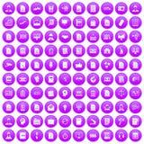 100 het werkdocument pictogrammen geplaatst purper Royalty-vrije Stock Afbeelding
