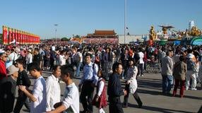 Het werkelijk overvolle Vierkant van Tiananmen - Royalty-vrije Stock Foto