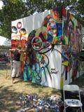 Het werken aan een Grote Muurschildering Stock Afbeelding