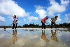 Het werken aan zout gebied Stock Fotografie