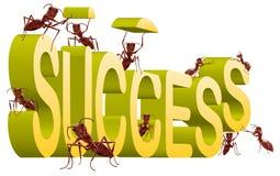 het werken bij succes de bouw succesvol creëren   vector illustratie
