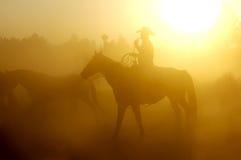 Het werken bij Zonsondergang Stock Fotografie