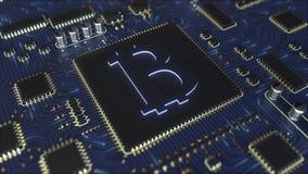 Het werken chipset met bitcoinsymbool De mijnbouw bracht het conceptuele 3D teruggeven met elkaar in verband Stock Afbeelding