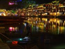 Het werken in Fenghuang bij Nacht Stock Foto's
