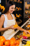 Het werken in fruitparadijs Stock Fotografie