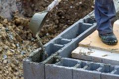 Het werken met beton Stock Fotografie