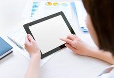 Het werken met tabletcomputer Stock Foto
