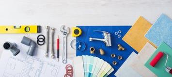 Het werklijst van de loodgieter stock afbeeldingen