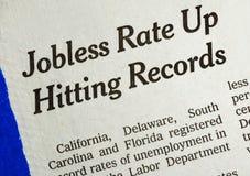 Het werkloze tarief is omhooggaand en rakend het verslag stock fotografie