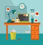 Het werkplaats van Webontwerper op vakantie. royalty-vrije illustratie