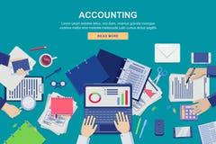 Het werkproces in bureau, vector hoogste meningsillustratie Boekhouding, bedrijfsgegevensanalyse en financiële controleconcept vector illustratie