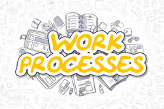 Het werkprocessen - Krabbel Geel Word Bedrijfs concept vector illustratie