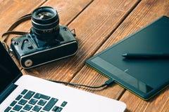 Het werkruimte voor fotograaf Stock Foto
