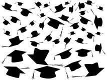 Het werpen de achtergrond van graduatiekappen Stock Foto