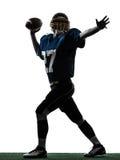 Het werpen van de strateeg het Amerikaanse silhouet van de voetbalstermens Royalty-vrije Stock Foto