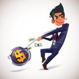Het werpen van een zware geldbal het concept van het geldbeheer - v vector illustratie