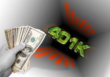Het werpen van Geld in 401k Royalty-vrije Stock Foto's