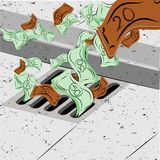 Het werpen van geld onderaan het afvoerkanaal Royalty-vrije Stock Afbeelding