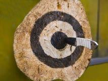 Het werpen van messen in openlucht stock afbeeldingen