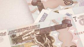 Het werpen van rekeningen Russische roebels stock video