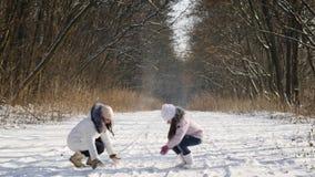 Het werpen van sneeuw Langzame Motie stock videobeelden