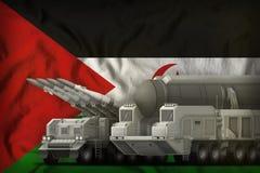 Het westelijke concept van de rakettroepen van de Sahara op de nationale vlagachtergrond 3D Illustratie vector illustratie