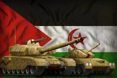 Het westelijke concept van de tankkrachten van de Sahara op de nationale vlagachtergrond 3D Illustratie vector illustratie