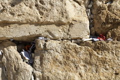 Het westelijke detail van muurjeruzalem van de Gebedkaartjes Stock Foto's