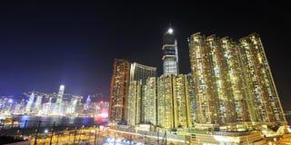 Het westen Kowloon bij Nacht Royalty-vrije Stock Afbeeldingen
