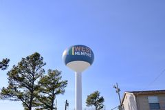 Het westen Memphis Arkansas Water Tower stock fotografie