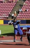 Het WESTEN van JORDANIË van de V.S. op het schot zette bij de IAAF-Wereldu20 Kampioenschappen in Tampere, Finland op 10 Juli, 201 Stock Afbeelding