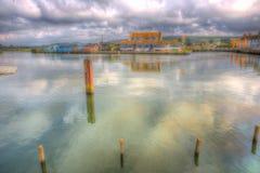 Het Westenbaai Dorset Engeland het UK van de riviermening met chalets en gebouwen Royalty-vrije Stock Afbeeldingen