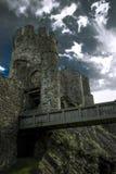 Het Westenbarbacane van het Conwykasteel Stock Foto's