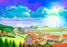 Het Westeuropese landschap van Painterly op de herfstdag Royalty-vrije Stock Fotografie