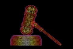 Het wettelijke concept van de computerrechter, cyber hamer, 3D illustratie Stock Fotografie