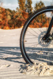 Het wiel is diep geplakt in het zand Stock Foto