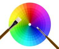 Het wiel en de borstels van de kleur op wit Stock Foto's
