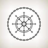 Het wiel en de ketting van het silhouetschip ` s Royalty-vrije Stock Afbeeldingen