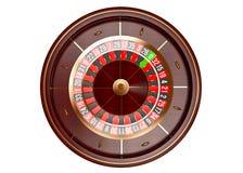 Het wiel hoogste die mening van de casinoroulette op witte achtergrond wordt geïsoleerd 3d teruggevende illustratie royalty-vrije stock afbeelding