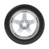 Het wiel met een nieuwe band op een wit Royalty-vrije Stock Afbeelding