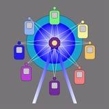 Het wiel van aantrekkelijkheidsferris Kleurrijke vector Royalty-vrije Stock Afbeeldingen