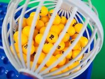 Het wiel van Bingo met genummerde binnen ballen Stock Foto's