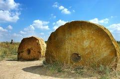 Het wiel van de steen dichtbij Melitopol stock foto's