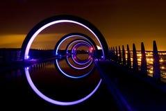 Het Wiel van Falkirk bij Nacht Stock Afbeelding