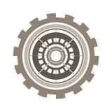 Het wiel van het silhouettoestel met kroon en pignon stock illustratie