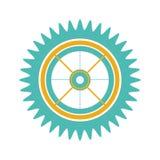 Het wiel van het silhouettoestel met pignon stock illustratie